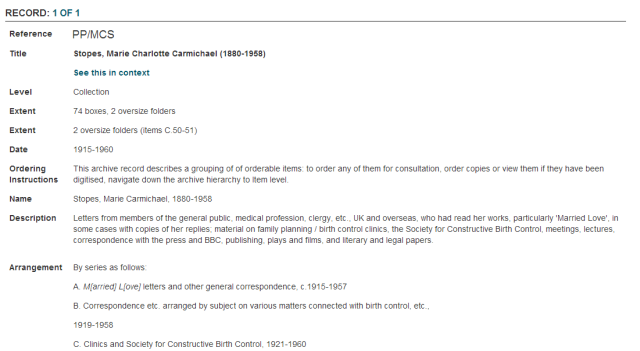 Screenshot of the Marie Stopes archive contents